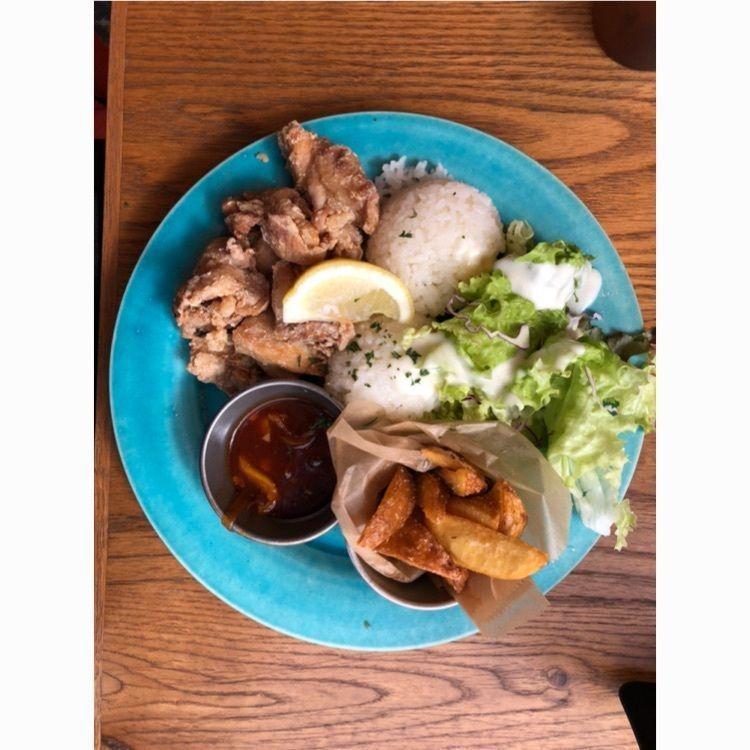 #01Cafe #町田 #Cafe #lunch #ランチ #鶏 #ぽてと #シーザーサラダ #ライス #ごはん