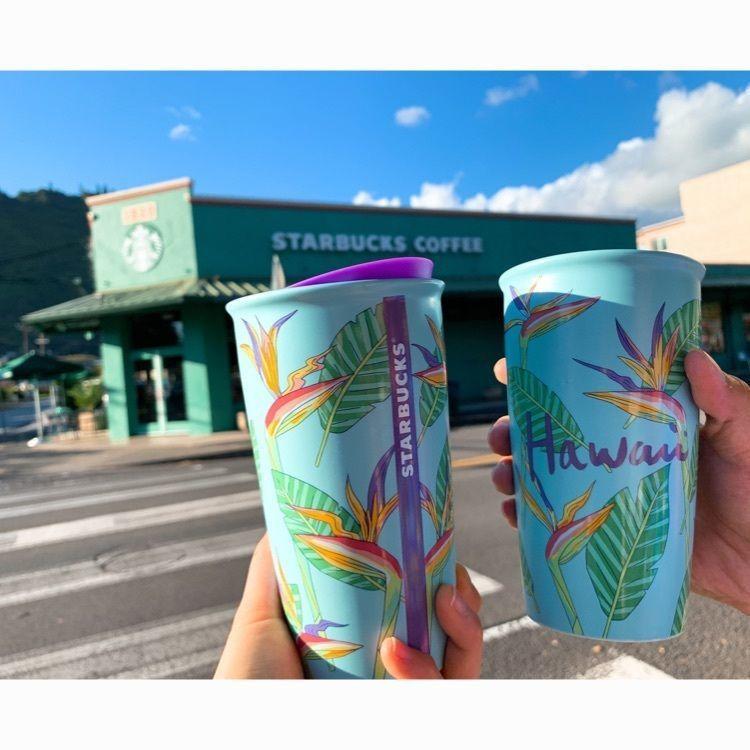 #ハワイ #グリーンなスタバ #タンブラー #ストロベリーとアサイー